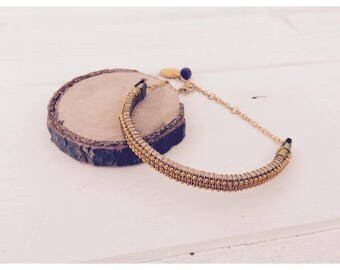 Wooden Bangle and gold beads