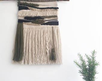 Woven Weave Wall Hanging Fibre Art, X-Lrg, Olive Green, Oatmeal & Black | Woven wall art tapestry | Wall tapestry weaving | Woven wall decor