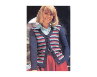 Afghan Crochet Cardigan Pattern - Striped long sleeve, round neckline, button front