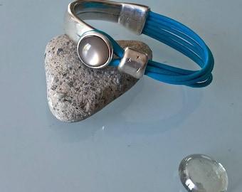 Turquoise genuine leather Bangle Bracelet