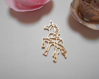 1 pendant Golden Unicorn origami 30 x 30 mm