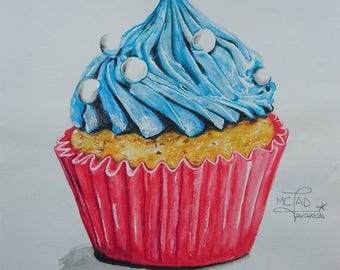 Drawing. Blue cupcake. Realistic draw