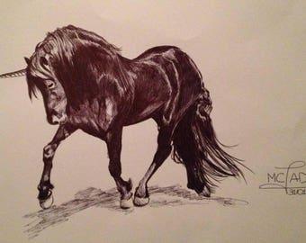 Portrait. Black Unicorn trot
