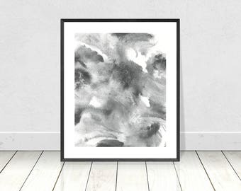 Black and white, Abstract PRINTABLE Art, black white Watercolor Print, Abstract Watercolour Print, Modern Art, monochrome, minimalist art