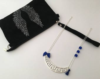 Adorned with silver graphic Blue bib