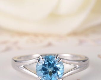Blue Topaz Ring White Gold Engagement Ring Solitaire bridal Wedding Simple Birthstone Split Shank Antique Anniversary Women Promise Gift