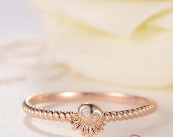 Unique Diamond Ring Octopus Rose Gold Ring Beaded Stacking Stackable Mini Cute Women Birthday Gift for Her Eternity Graduation Friendship