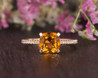 Citrine Engagement Ring Yellow Gold Antique Solitaire Unique Prongs Cushion Cut Wedding Diamond Woman Antique Birthstone Promise Bridal Gift