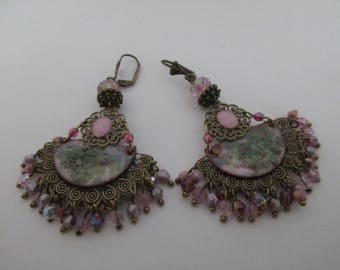 """Earrings """"Cottage"""" on a fan with a charm connector copper enamel"""