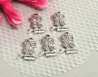 "5 charms, pendants ""OWL or OWL"" on a branch in silver for jewel creation."