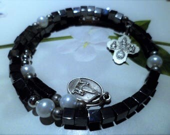 Black Hematite Rosary bracelet and white cross medal Virgin