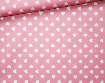 White Hearts, 100% cotton fabric printed 50 x 160 cm, small white hearts on pink background