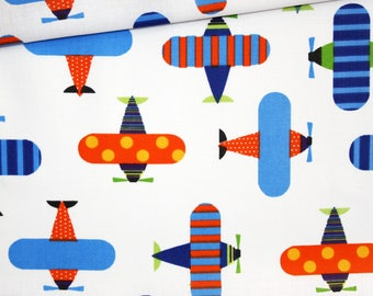 Biplane fabric, 100% cotton 50 x 160 cm, had colored on white background