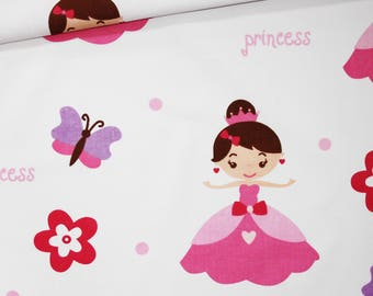 Princess, 100% cotton fabric printed 50 x 160 cm, princesses, butterflies, flowers on white background