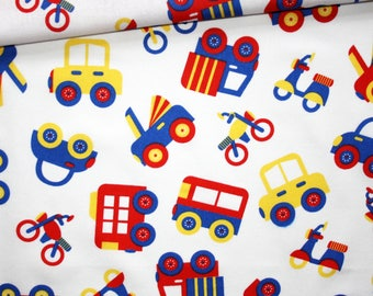 Fabric vehicles, motorcycles, 100% cotton 50 x 160 cm, trucks, motorcycles, cars on white background