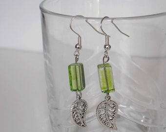 Silver leaf and green fantasy earrings