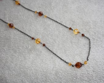 Necklace beads Brown and yellow / orange fall theme
