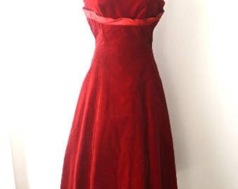 M 50s 60s Red Velvet Cocktail Party Dress Winter Ball Cranberry by Lorrie Deb Medium FLAWED TLC Theatrical Costume