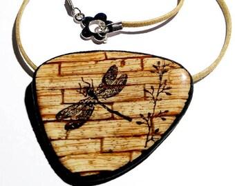 Necklace polymer imitation wood Dragonfly (fimo, premo, cernit)
