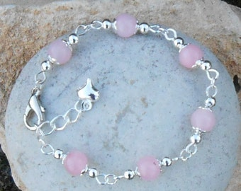 Bracelet child (from 13.5 to 15 cm) pink Jade beads