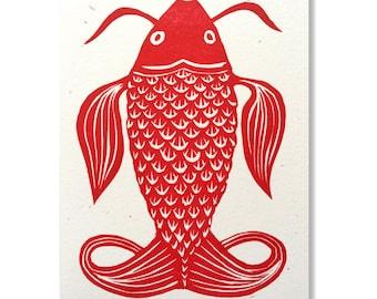 """""""Fish"""" original greeting card / Hand-printed """"Fish"""" greeting card"""