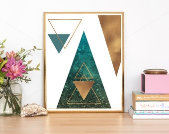 Scandinavian Print, Mint and Gold Print, Abstract Geometric, Minimalist Geometric, Gold Foil Print, Triangle Print, Abstract Office Decor