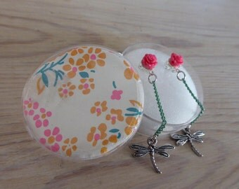 Dragonfly earring and pink