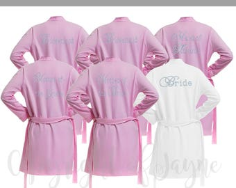 Personalised Set of 5 Cotton Bridal Party Robes, Diamante Bride Dressing Gown, Bridesmaid Robe, Wedding Robes -  Bridal Dressing Gown