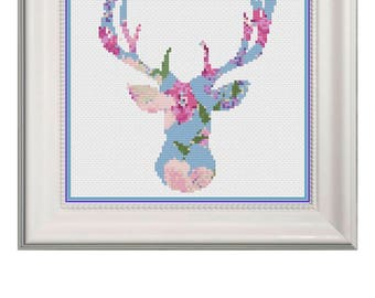 Floral Deer Head Silhouette Cross Stitch Pattern Instant Download PDF