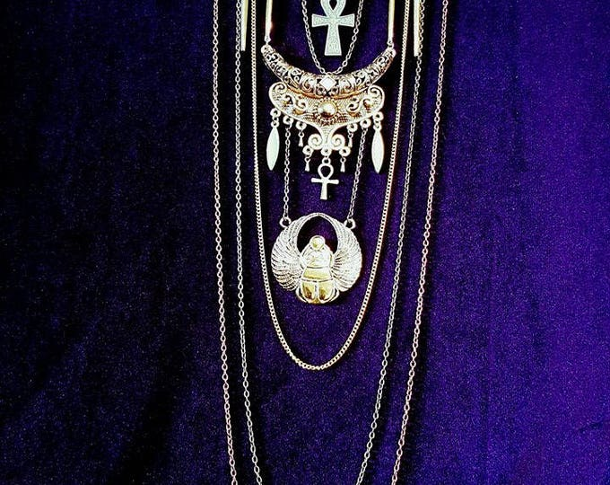 Egyptian JewelSet: Neckpiece & Earrings with Onyx - Ankh scarabe stones ancient life vampire goth occult immortality vintage cleopatra