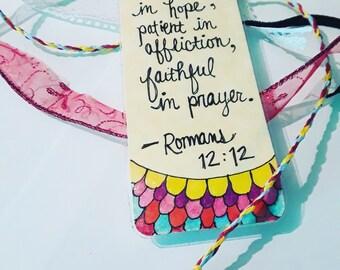 Bible Bookmark Romans 12:12
