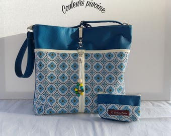 Matching boho shoulder purse bag, Suede Blue duck and woven blue and ecru jacquard, woman handbag