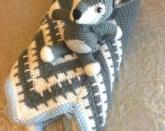 Crochet Baby Set, Wolf and Blanket Bundle