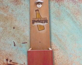 Wall Mounted Bottle Opener w/ Cap Catcher