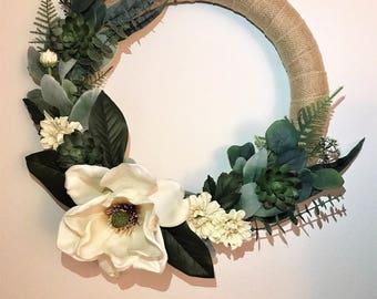 Magnolia Wreath 15.8in.