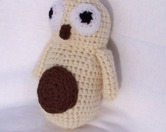 Plush stuffed animal or OWL decor ecru and Brown handmade crochet