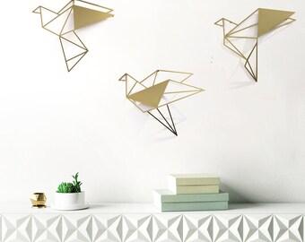 set of 3 wall art , gold bird decor, geometric wall art, modern room decor, origami bird, laser cut metal art, minimalist wall hanging