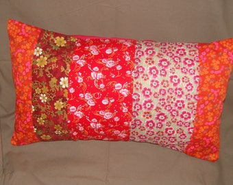 "Cushion style ""Bohemian"" red in four parts, different fabrics"