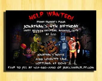 Help Wanted Five Nights at Freddys, Five Nights at Freddys Birthday Invitations,Five Nights at Freddys Invitations,5 Nights at Freddys Party