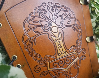 Hand Carved archery arm guard, bracer - Tree of Life with Mjolnir