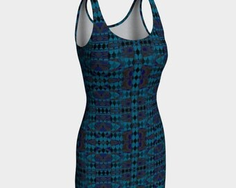"Body-con Dress, Sleeveless Dress, Summer Dress, ""Blue Ripples Layered 2, Made to order"""