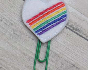 rainbow heart planner clip, felt paper clip, kawaii, planner clip, planner accessory, planner accessories, planner supplies, cute planner