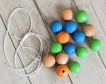 Baby Sensory toy, Montessori toy, First toy, colors wooden Beads - Montessori Baby Toy