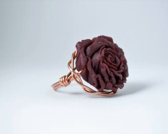 Wire Wrapped Rose Ring; Alizarin Crimson