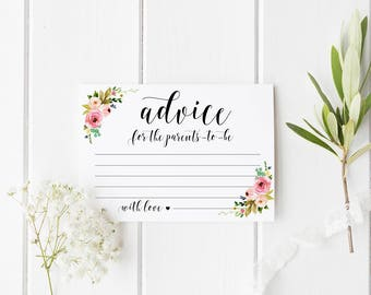 Floral advice for new parents Advice for parents to be Baby shower advice cards Baby shower games Baby shower ideas printables Advice ideas