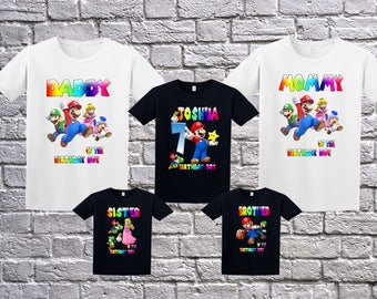 Super Mario shirt, Super Mario Birthday T-Shit, Mario Name Age, Custom Mario Shirt, Personalized Super Mario Apparel, Mario Birthday Party