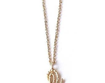 14k Solid Yellow Gold Baby Snake Pendant Necklace