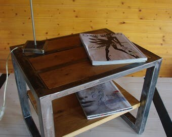 Iron and oak bedside table
