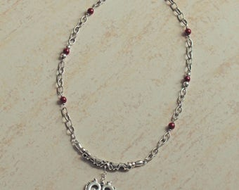 Necklace heart metal, metal beads, red magic pearls, silver chain