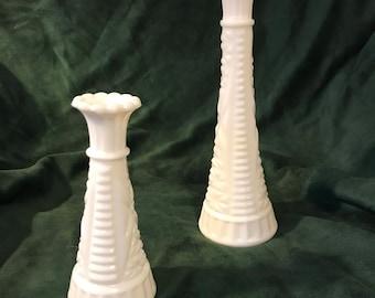 Vintage Milk Glass Flower Vases (set of 2)